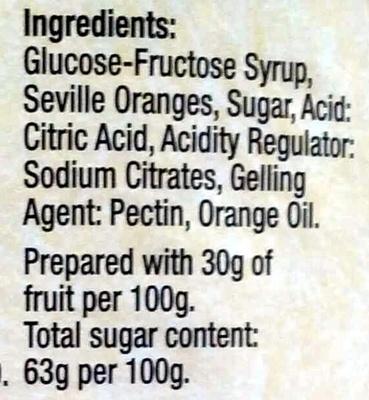 "Cooper's ""Oxford"" Fine Cut Oxford Marmalade - Ingredients - en"