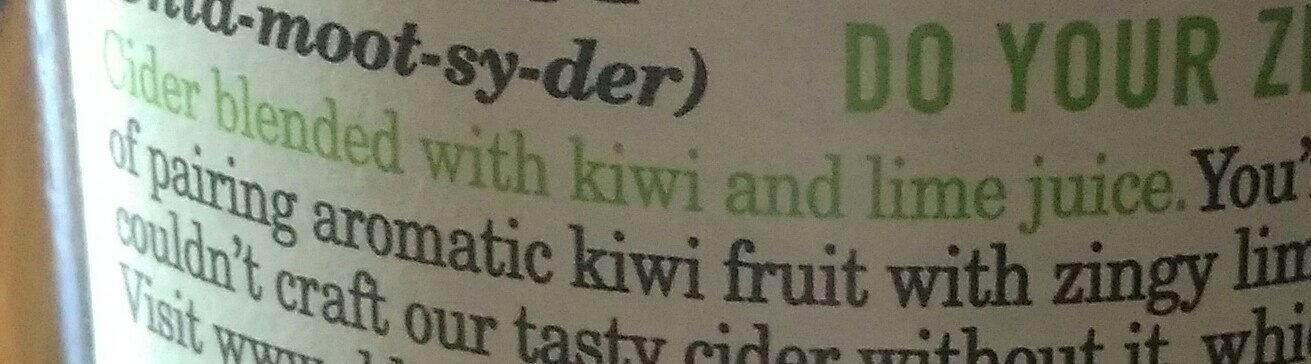 Old Mout Cider Kiwi & Lime - Ingredients