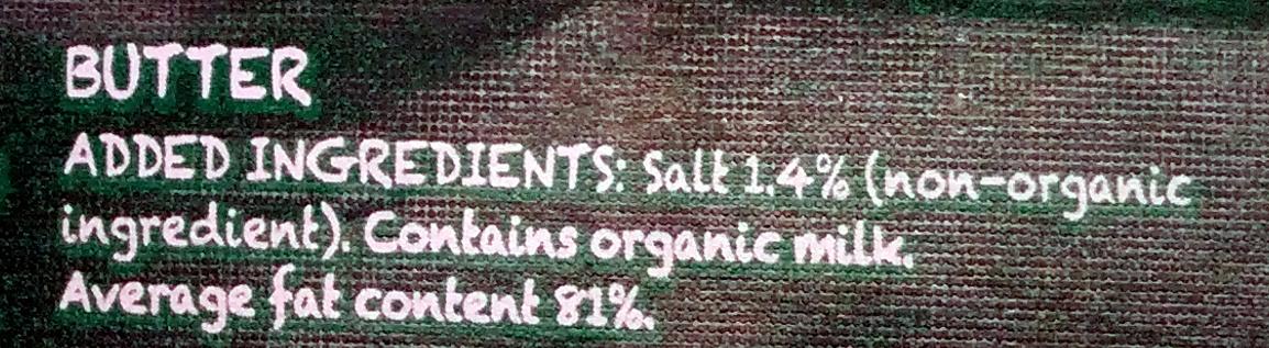 Organic British Butter - Ingredients - en