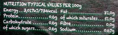 Organic British Butter - Nutrition facts - en
