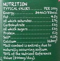 Yeo Valley Natural Yogurt 1Kg - Nutrition facts