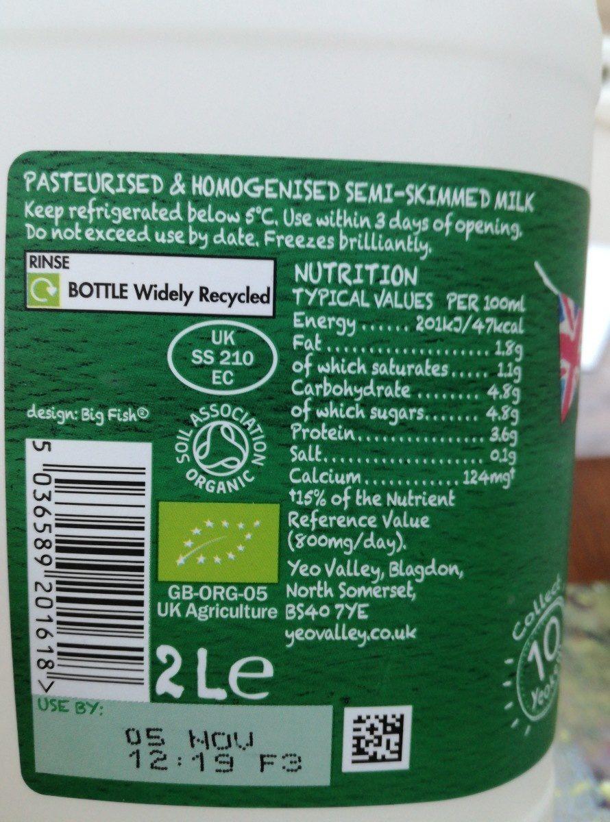 yeo valley milk - Ingredients - fr