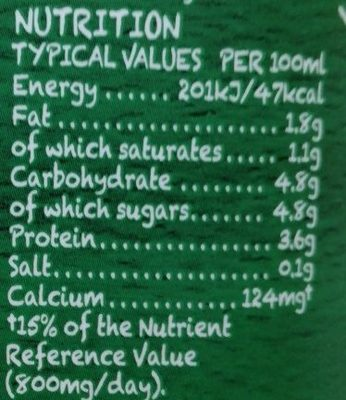 yeo valley milk - Nutrition facts - fr