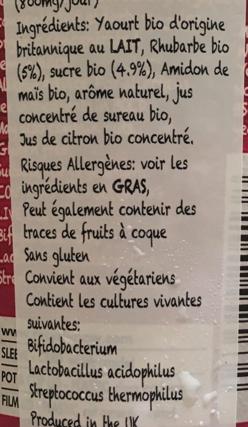 Rhubarb yeogurt - Ingrédients - fr