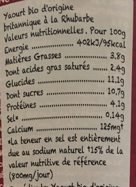 Rhubarb yeogurt - Informations nutritionnelles - fr