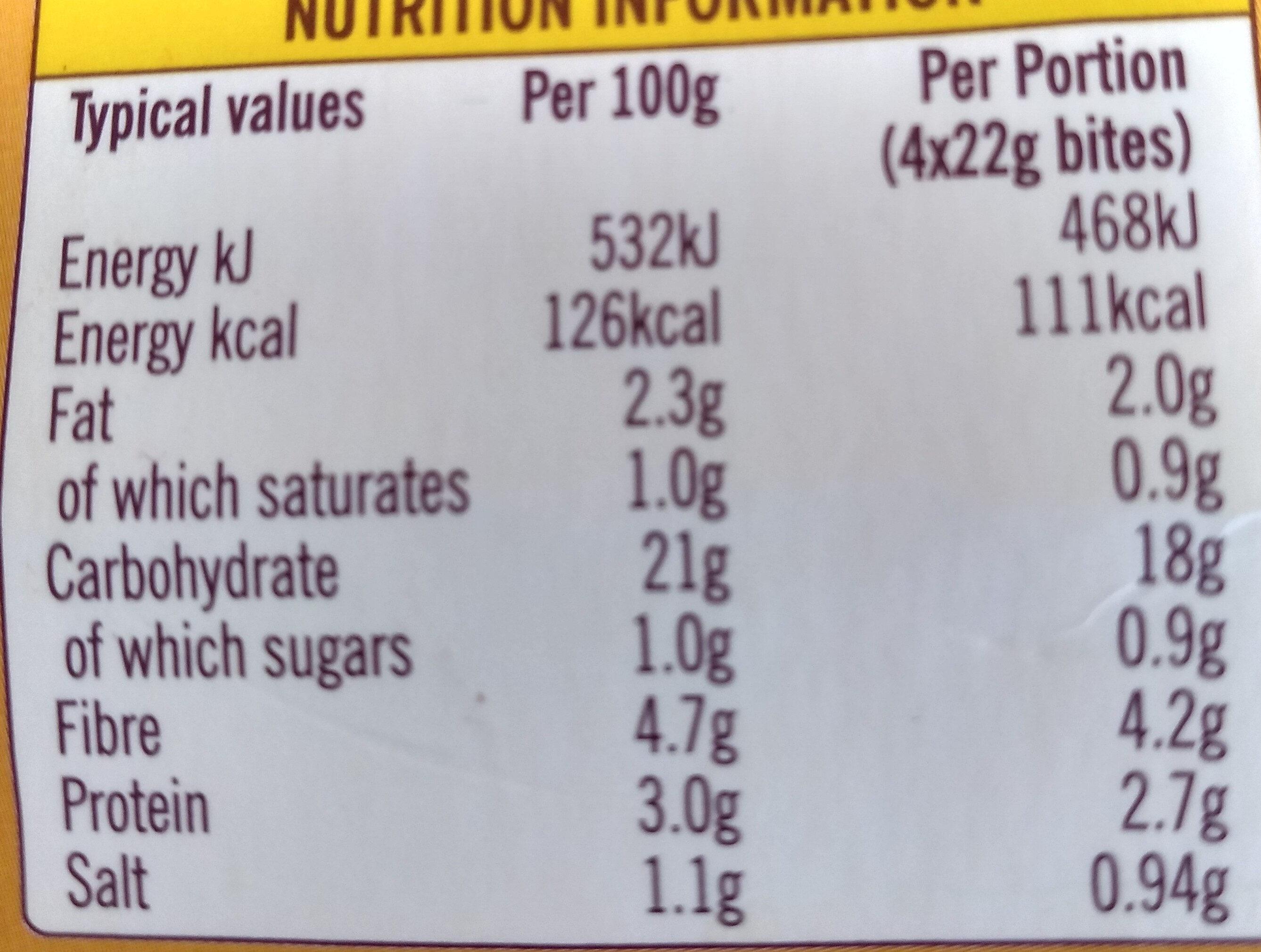 Tuscan Vegetable Bites - Informations nutritionnelles - en