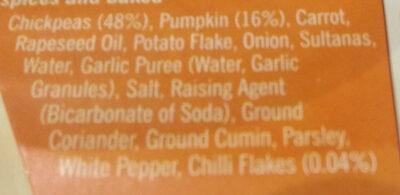 Sweet Pumpkin & Chilli Bites - Ingredients