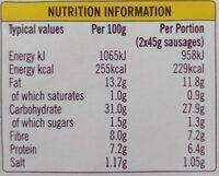 6 veggie sausages - Informations nutritionnelles - en