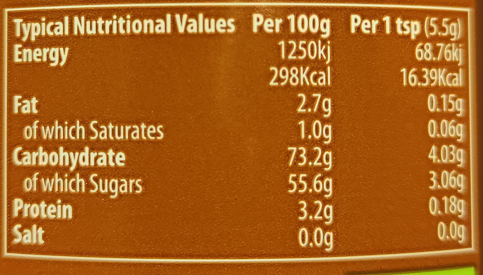 agave chocolate sauce - Nutrition facts - en