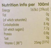 Orange Juice - Informations nutritionnelles