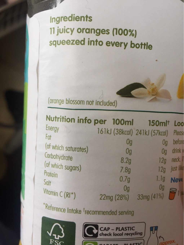 Innocent Orange Juice Smooth - Informations nutritionnelles