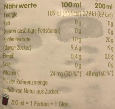 Apfel & Beeren Direktsaft - Voedingswaarden - de