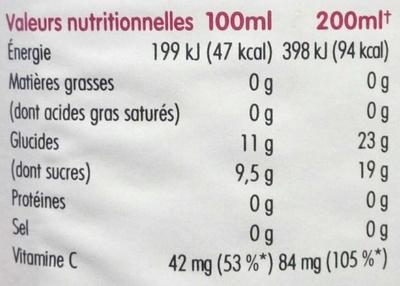 100% orange sanguine de Sicile - Nutrition facts - fr
