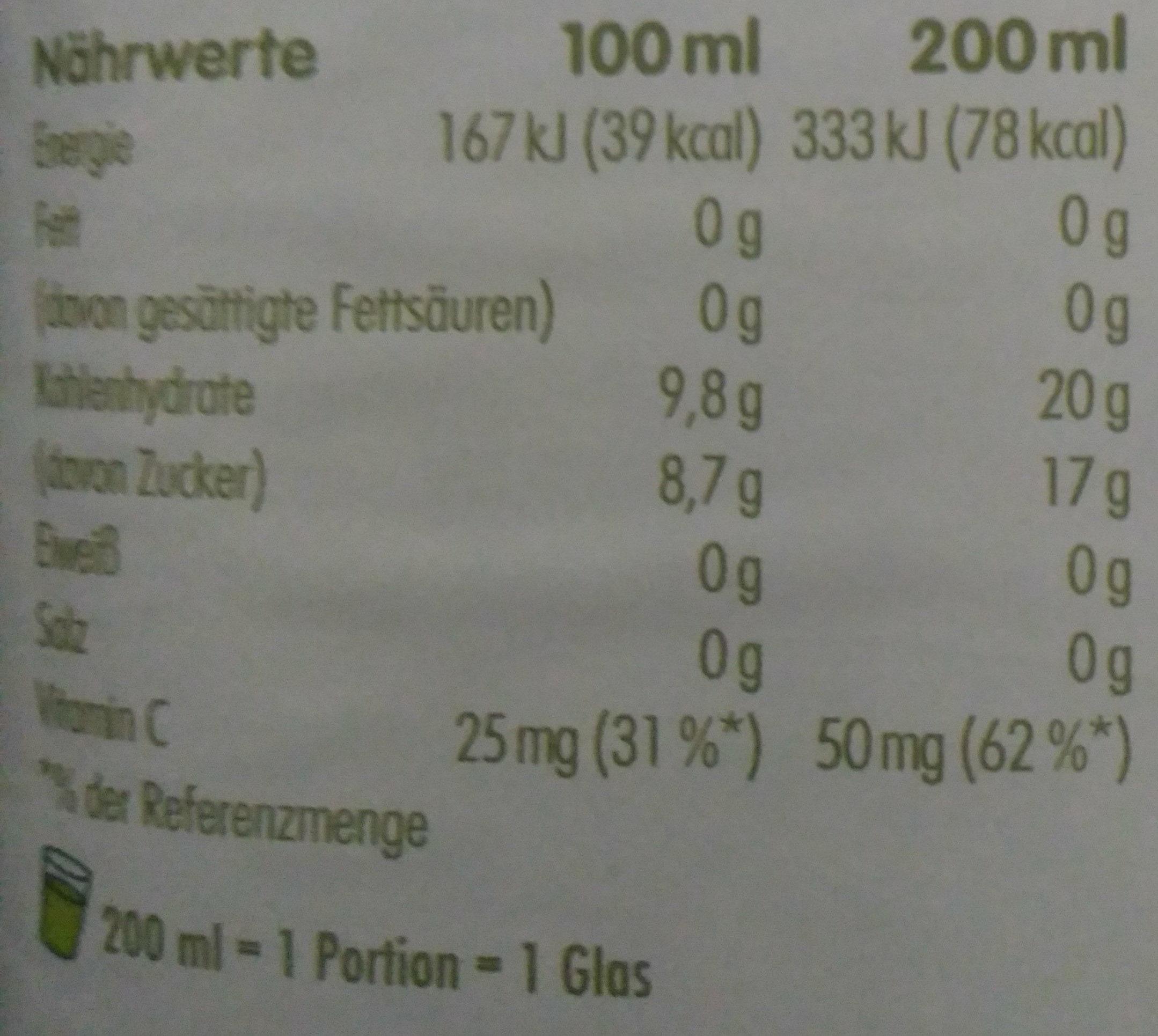 Jus pomme, kiwi, concombre - Informations nutritionnelles - bg
