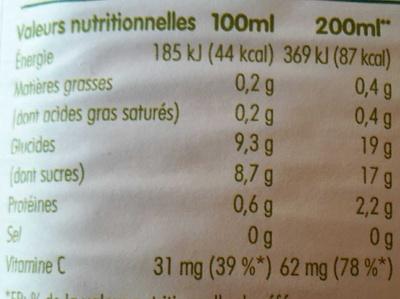 pur jus de 3 fruits pressés orange, pamplemousse rose & orange sanguine - Informations nutritionnelles