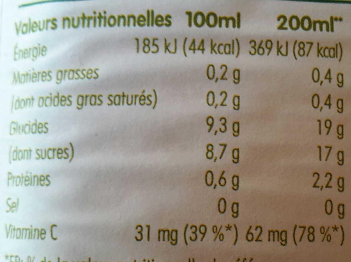 pur jus de 3 fruits pressés orange, pamplemousse rose & orange sanguine - Voedingswaarden