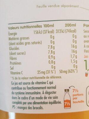Innocent jus d'orange avec pulpe 1.5L - Informations nutritionnelles - fr