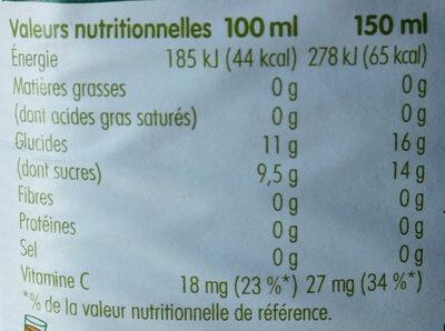 Jus Tutti Frutti - Voedingswaarden - fr