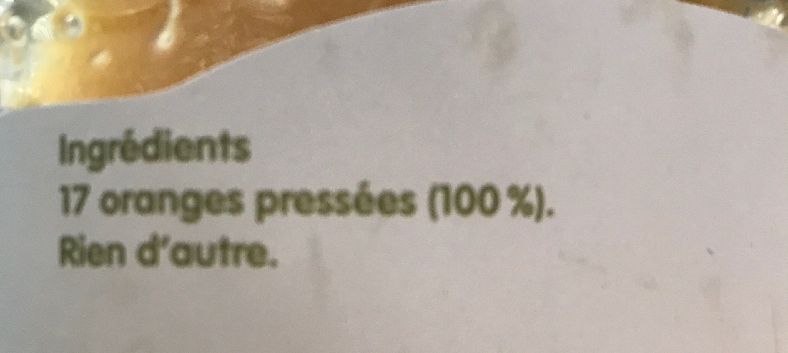 Jus d'orange pressée - Ingrédients