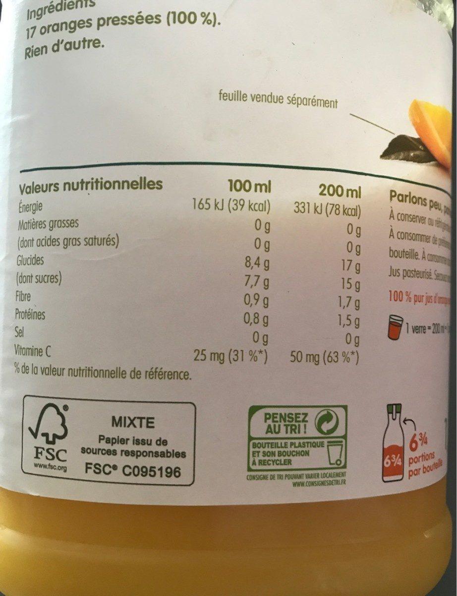 Jus d'orange pressée - Informations nutritionnelles
