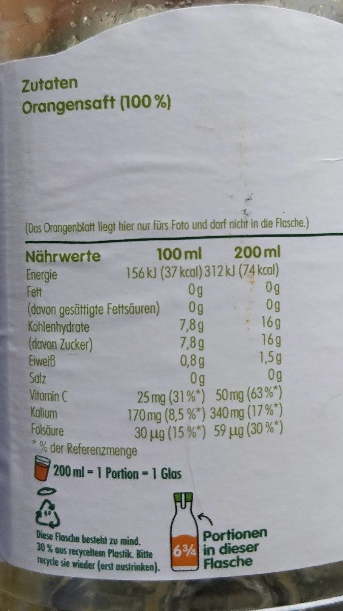 Direktsaft Orange mit Fruchtfleisch - Ingredients - de