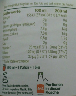 Direktsaft Orange mit Fruchtfleisch - Nutrition facts - de