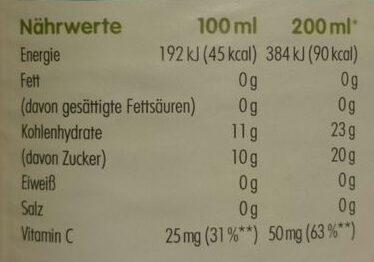 Innocent juice Direktsaft - Nährwertangaben - de