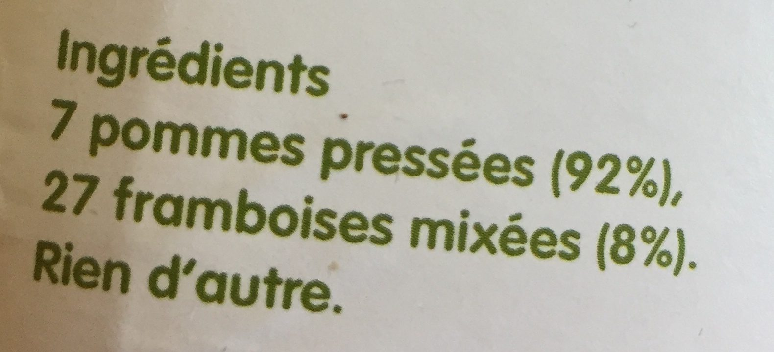 Innocent jus pomme & framboise 900ml - Ingredienti - fr