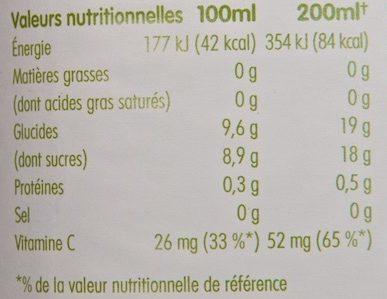 Pur jus de fruits pressés Pomme & Framboise - Nutrition facts - fr