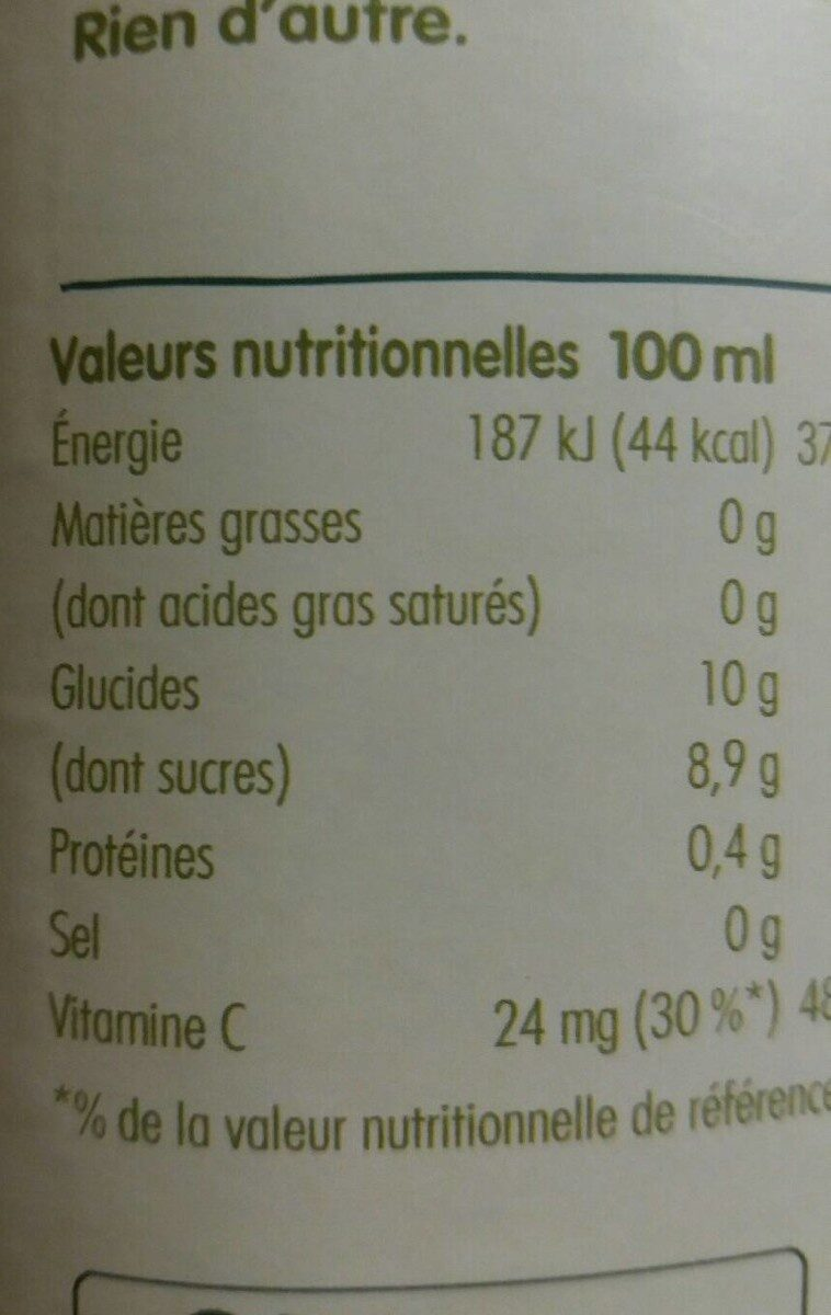 Innocent jus ananas & fruit de la passion 900ml - Nutrition facts - fr