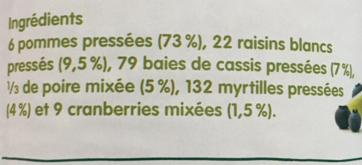 Innocent myrtille, cassis, pommes et cranberry - Ingredients