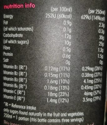 Super Smoothie Energy - Nutrition facts