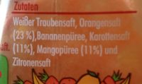 Smoothie Orange Carotte Mangue - Ingrédients - fr