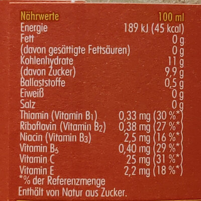 Vitaminbündel - Informazioni nutrizionali - de