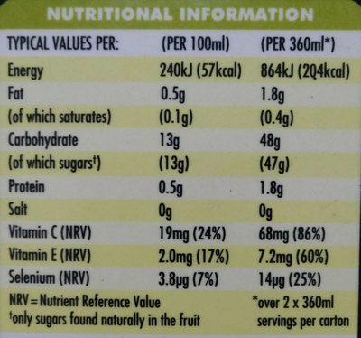 Antioxidant super smoothie kiwi, lime & wheatgrass - Nutrition facts