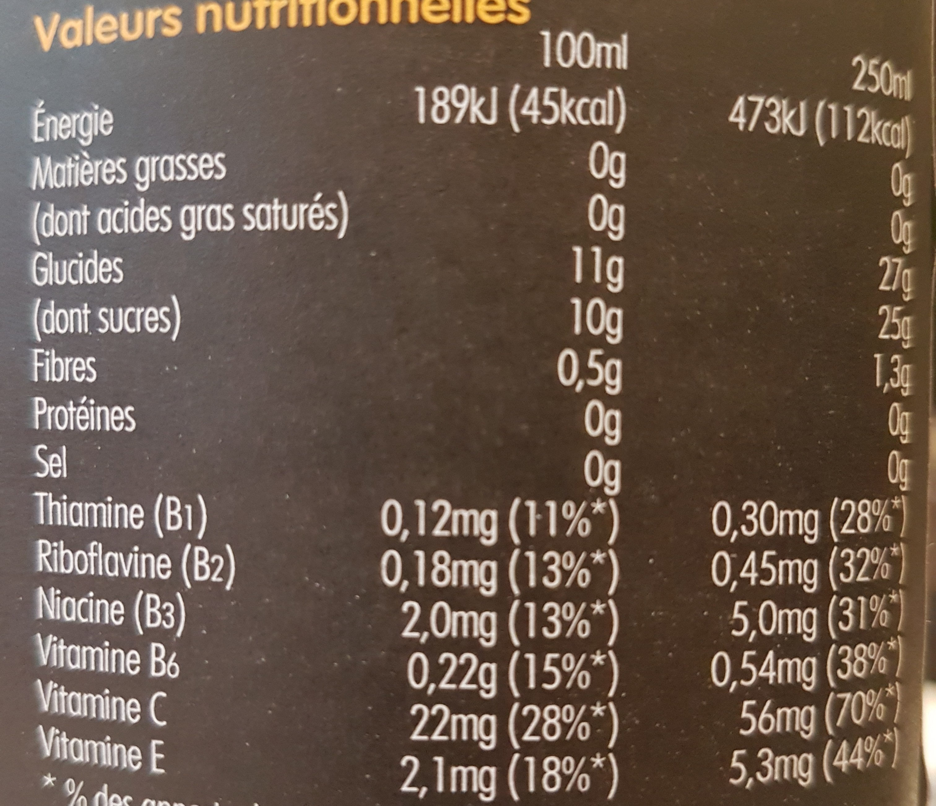 Super smoothie re[charge] - Nutrition facts - fr