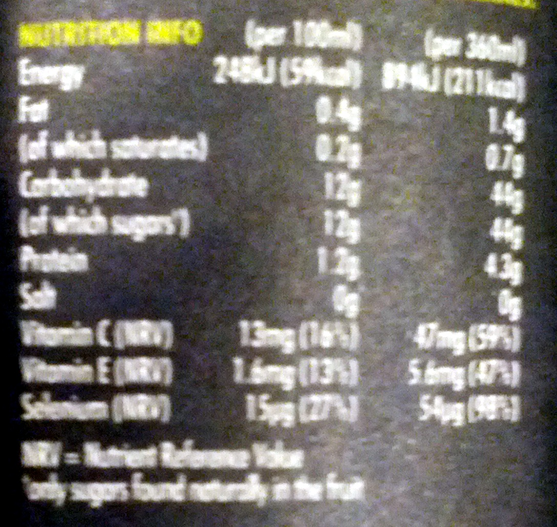Innocent Super Smoothie Antioxidant - Nutrition facts