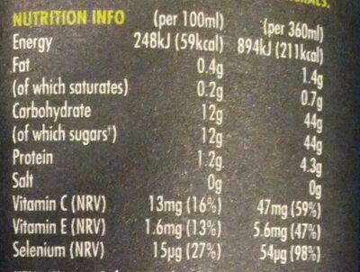 Innocent Super Smoothie Antioxidant - Nutrition facts - en