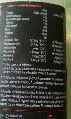 Super smoothie énergie : fraise, cerise, guarana, graine de lin, vitamines B1, B2, B6 et C - Ingrédients - fr