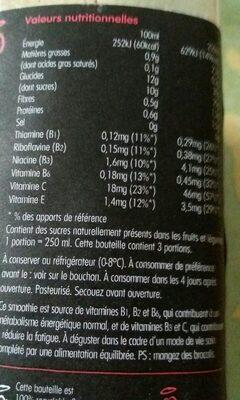 Super smoothie énergie : fraise, cerise, guarana, graine de lin, vitamines B1, B2, B6 et C - Informations nutritionnelles - fr