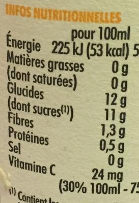 Smoothie mangue et fruits de la passion - Información nutricional