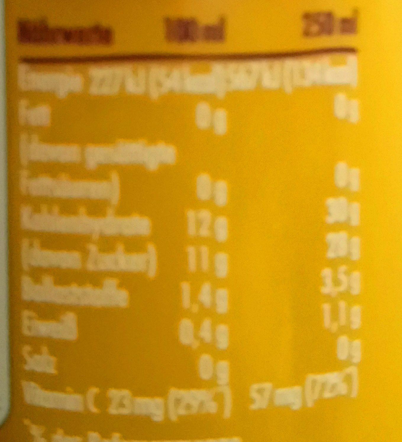Innocent Smoothie, Mango Maracuja - Informations nutritionnelles - de