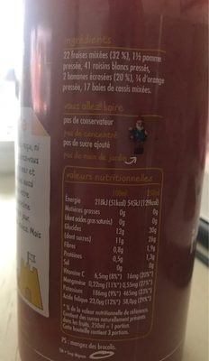 Innocent smoothie fraise banane 75cl - Ingredients - fr