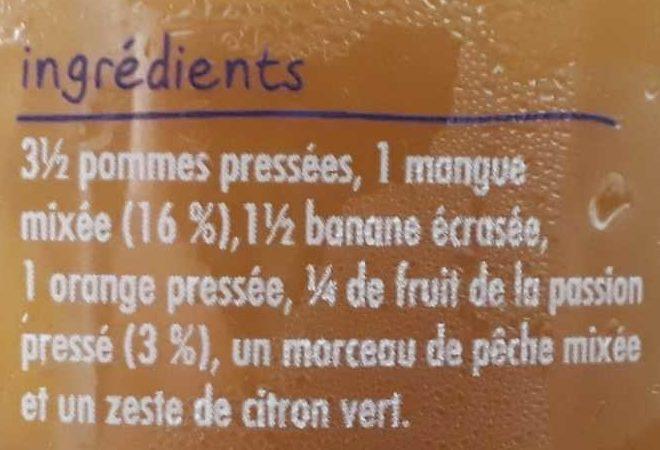 Smoothie mangue & fruit de la passion - Ingrediënten
