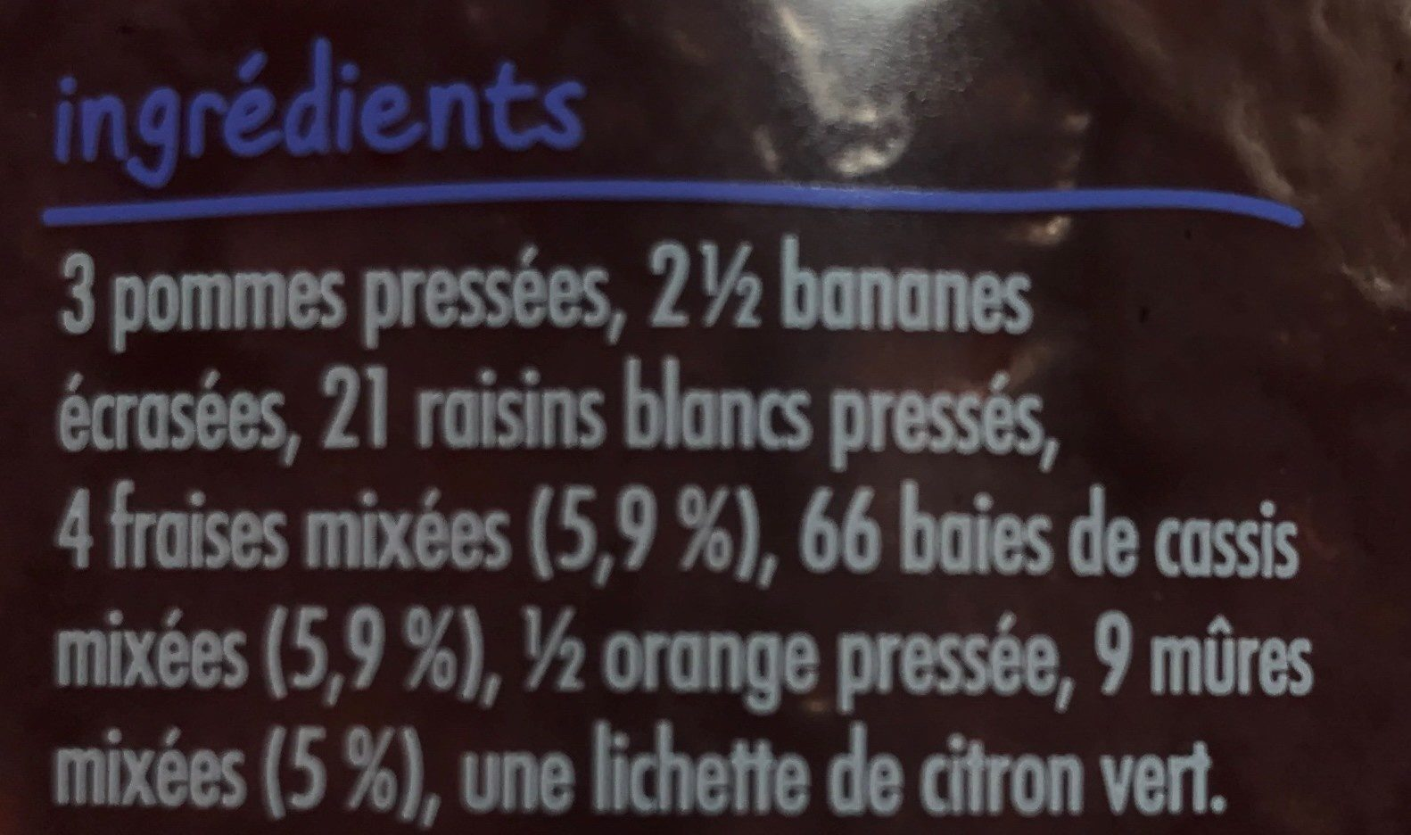 Smoothie fraise et mûre - Ingredienti - fr