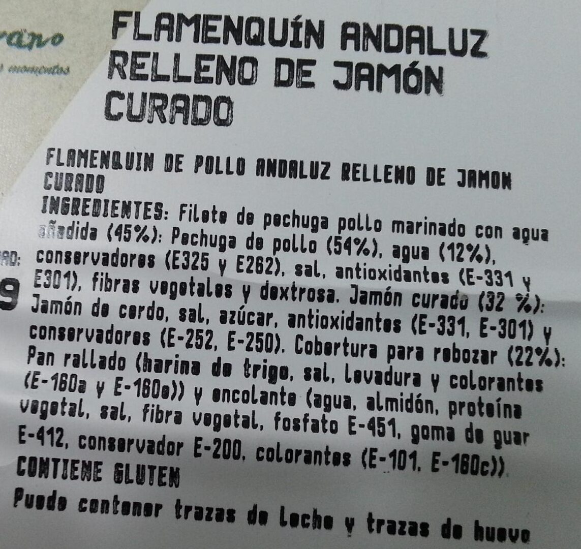 Flamenquín andaluz relleno de jamón curado - Ingrédients - es