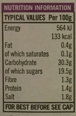 Kansas City BBQ sauce - Nutrition facts