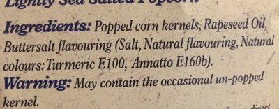 Popcorn Lightly Sea Salt - Ingrédients