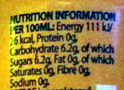 Indian Tonic Water - Informations nutritionnelles - en