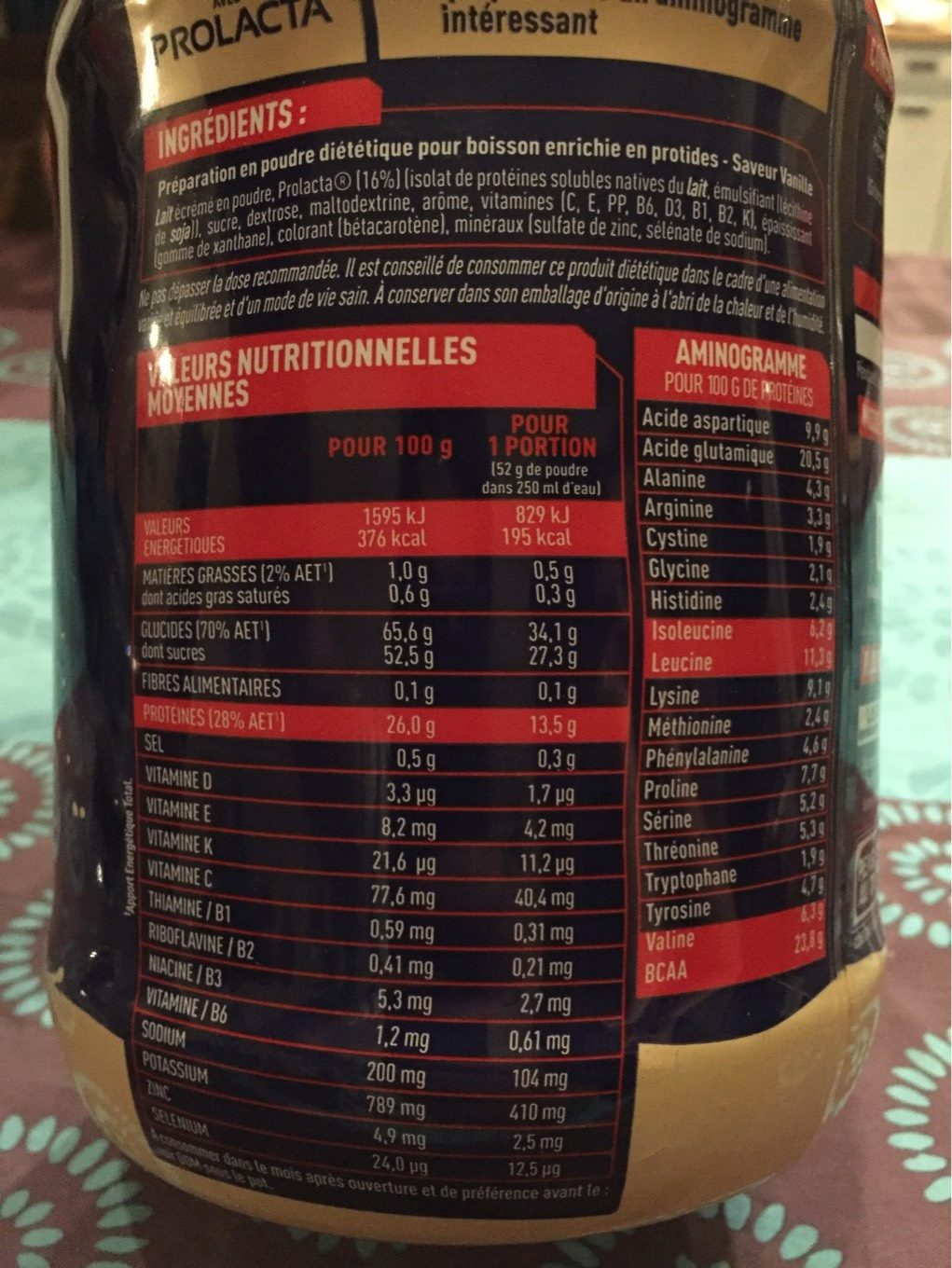 Gainer elite - Informations nutritionnelles